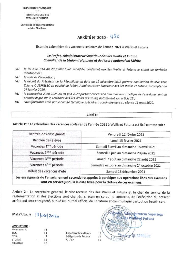 Le calendrier scolaire 2021   Vice Rectorat des îles Wallis et Futuna